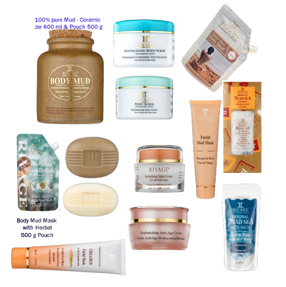 RIVAGE Dead Sea SPA products - facial creams, eye wrinkle Creams, Masks, Scrubs